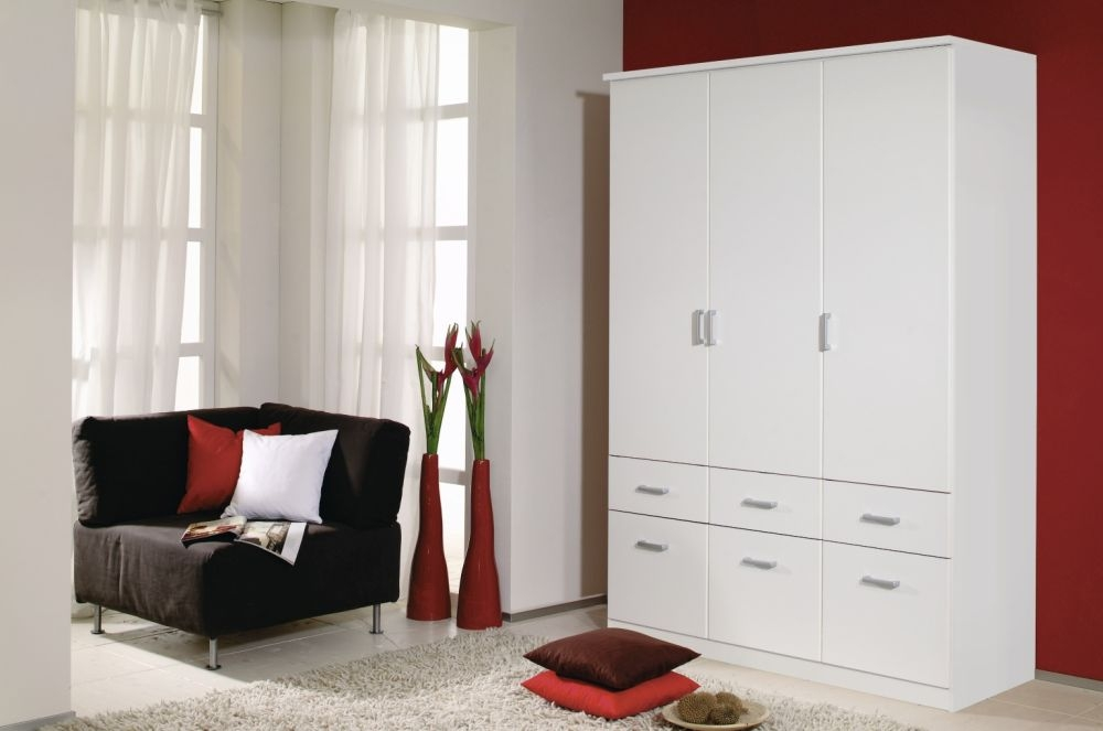 Rauch Bremen Alpine White 3 Door 6 Drawer Wardrobe with Cornice - W 136cm