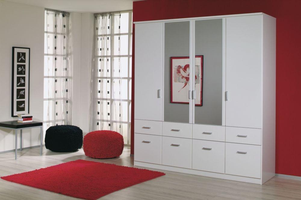 Rauch Bremen 4 Door 8 Drawer 2 Mirror Wardrobe with Cornice in Alpine White - W 181cm