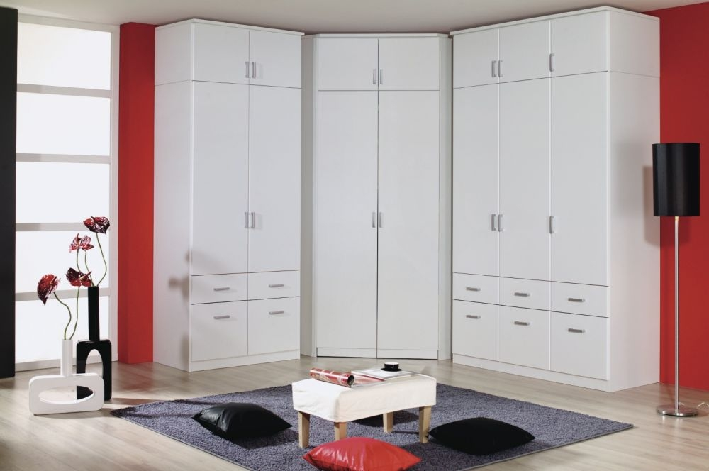 Rauch Bremen Alpine White 7 Doors 10 Drawers L Shapped Wardrobe - W 344cm