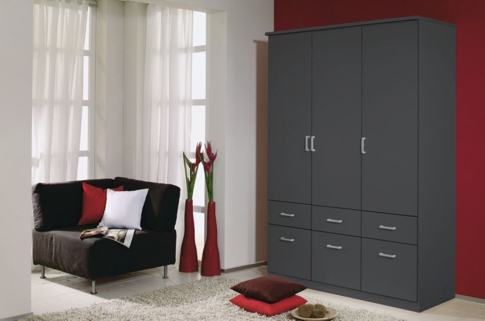 Rauch Bremen Metallic Grey 2 Mirror Door Corner Wardrobe with Cornice - W 117cm