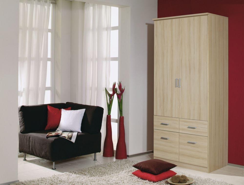Rauch Bremen Natural Beech 2 Door 4 Drawer Wardrobe with Cornice - W 91cm