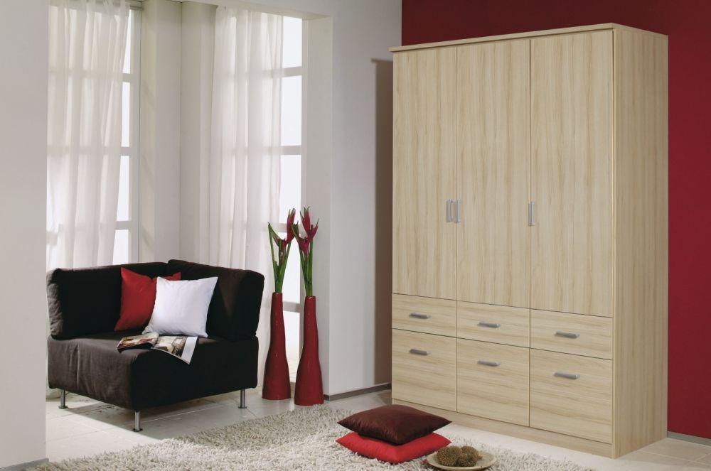 Rauch Bremen Natural Beech 3 Door 6 Drawer Wardrobe with Cornice - W 136cm