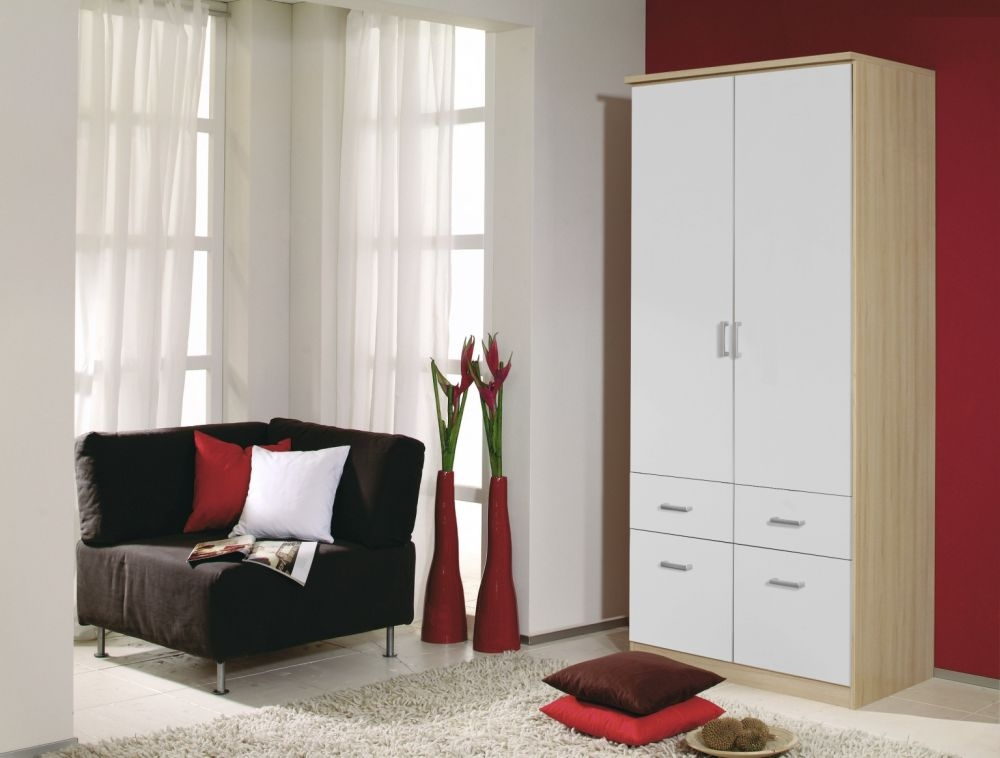 Rauch Bremen Natural Beech with Alpine White 4 Door 8 Drawer Wardrobe with 2 Mirror and Cornice - W 181cm