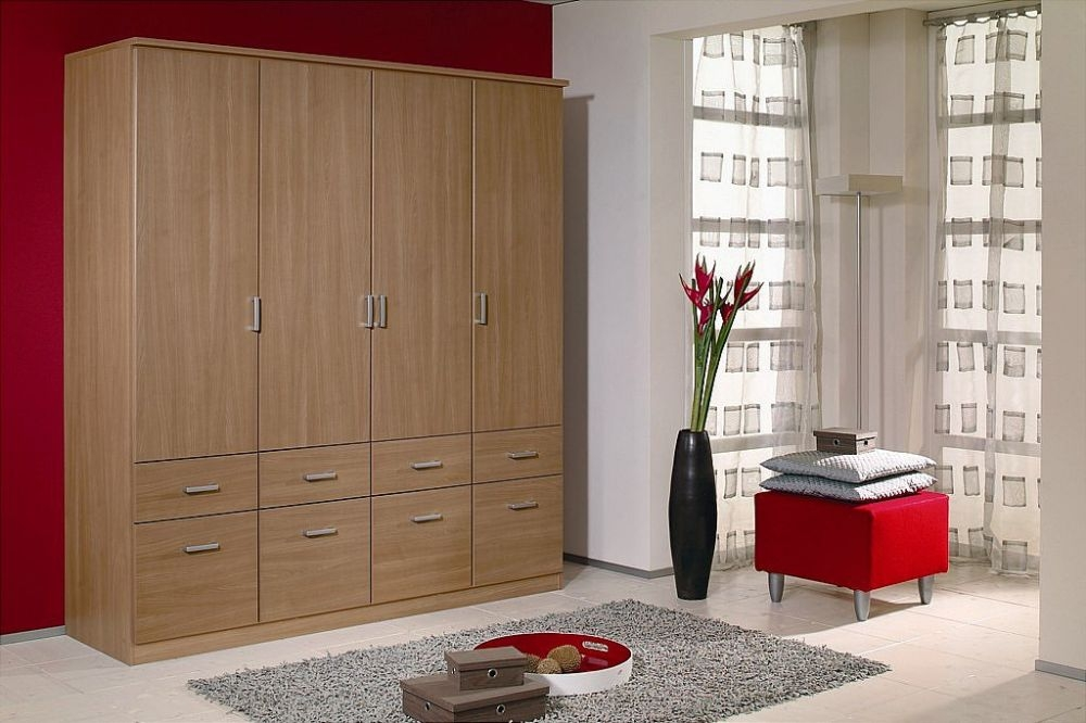 Rauch Bremen Riviera Oak 4 Door 8 Drawer Wardrobe with 2 Mirror and Cornice - W 181cm