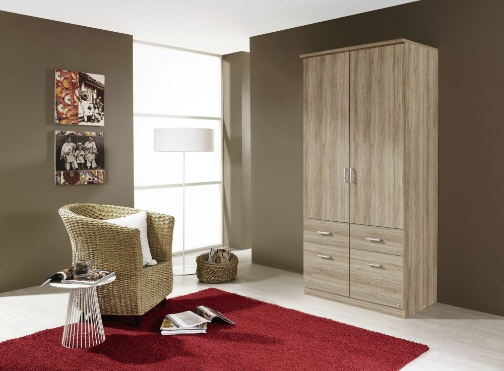 Rauch Bremen Sanremo Oak Light 2 Door 4 Drawer Wardrobe with Cornice - W 91cm