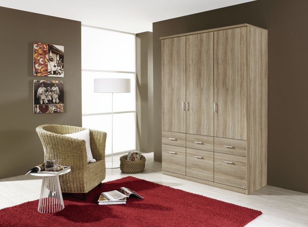 Rauch Bremen Sanremo Oak Light 4 Door 8 Drawer Wardrobe with Cornice - W 181cm