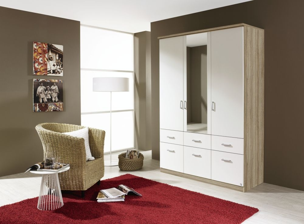 Rauch Bremen Sanremo Oak Light with Alpine White 2 Door 4 Drawer Wardrobe with Cornice - W 91cm