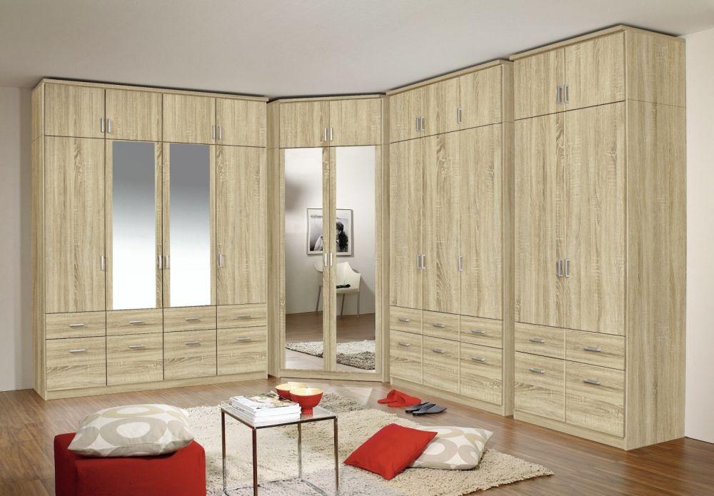 Rauch Bremen 11 Doors 18 Drawers L Shapped Wardrobe Sonoma Oak - W 525cm