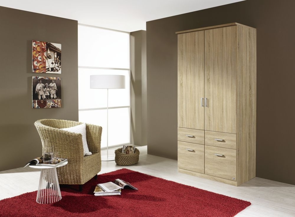 Rauch Bremen Sonoma Oak 2 Door 4 Drawer Wardrobe with Cornice - W 91cm