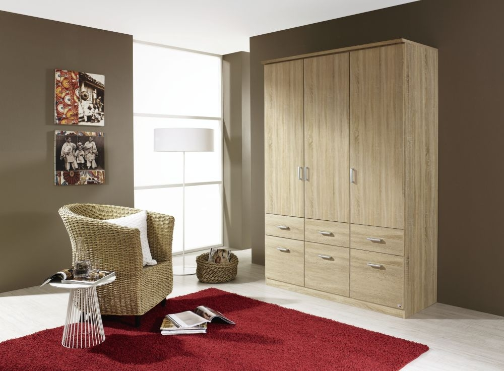 Rauch Bremen Sonoma Oak 3 Door 6 Drawer Wardrobe with Cornice - W 136cm