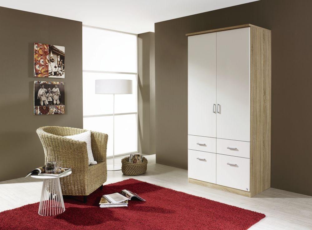 Rauch Bremen Sonoma Oak with Alpine White 4 Door 8 Drawer Wardrobe with Cornice - W 181cm