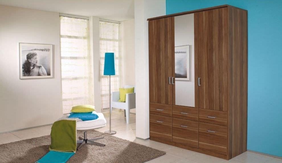 Rauch Bremen Stirling Oak 2 Mirror Door Corner Wardrobe with Cornice - W 117cm