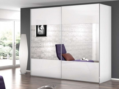 Rauch Caana 2 Door Sliding Wardrobe in Alpine White and High Polish White - W 226cm