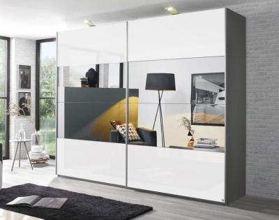 Rauch Caana 2 Door Sliding Wardrobe in Graphite and High Polish White - W 226cm