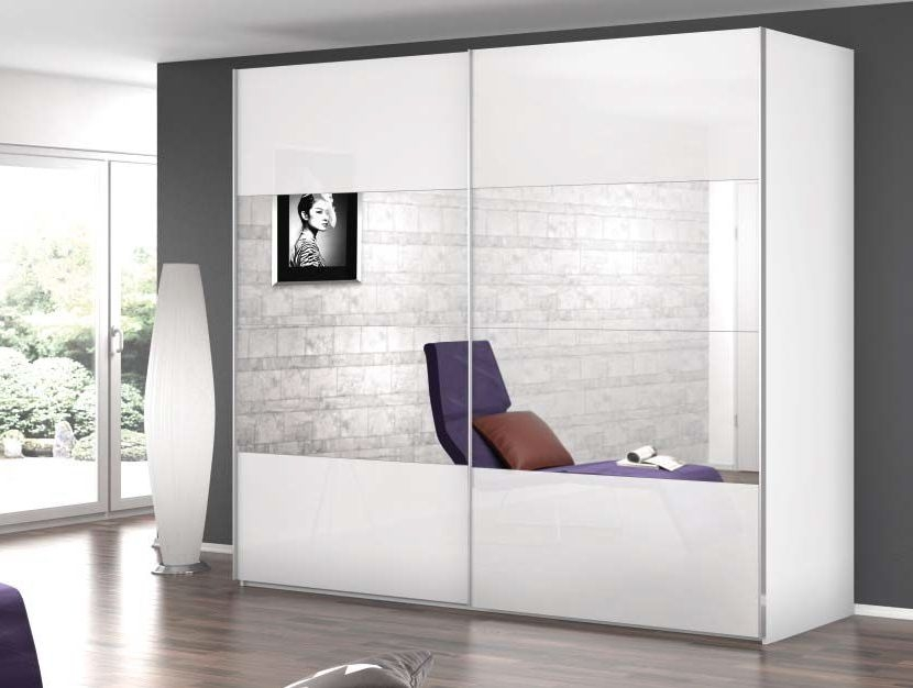 Rauch Caana 2 Door Sliding Wardrobe in Alpine White and High Polish White - W 181cm