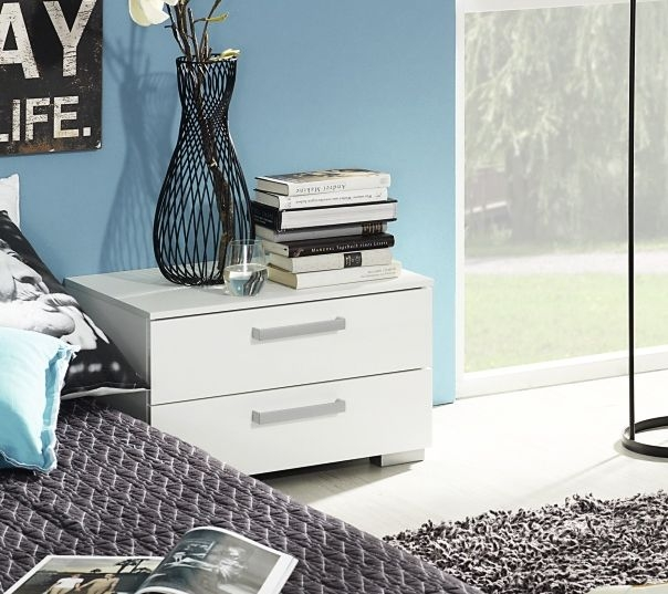 Rauch Calero Alpine White Bedside Cabinet - 2 Drawer - W 40cm
