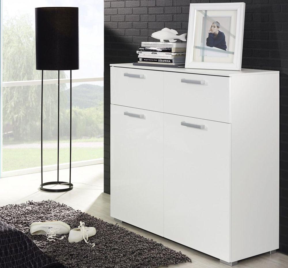 Rauch Calero Alpine White Chest of Drawer - 4 Drawer Narrow - W 80cm