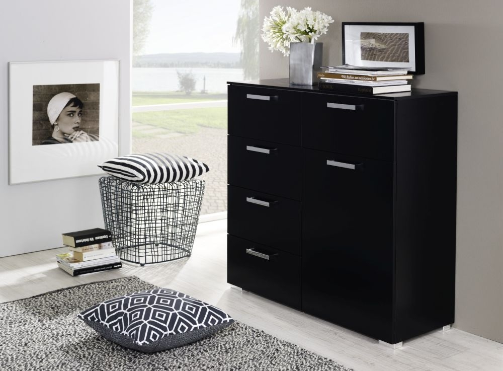 Rauch Calero 1 Door 5 Drawer Combi Chest in Black