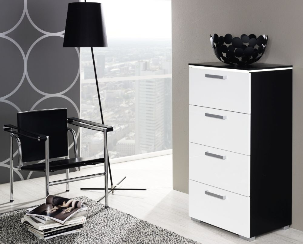 Rauch Calero Black with Alpine White Chest of Drawer - 3 Drawer Narrow - W 40cm