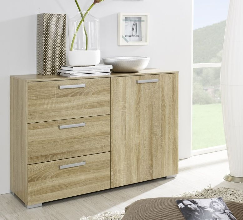Rauch Calero Sonoma Oak Chest of Drawer - 3 Drawer Narrow - W 40cm