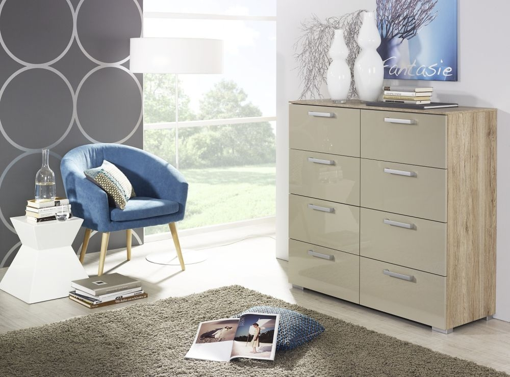 Rauch Calero 8 Drawer Chest in Sonoma Oak and High Gloss Sand Grey - W 80cm