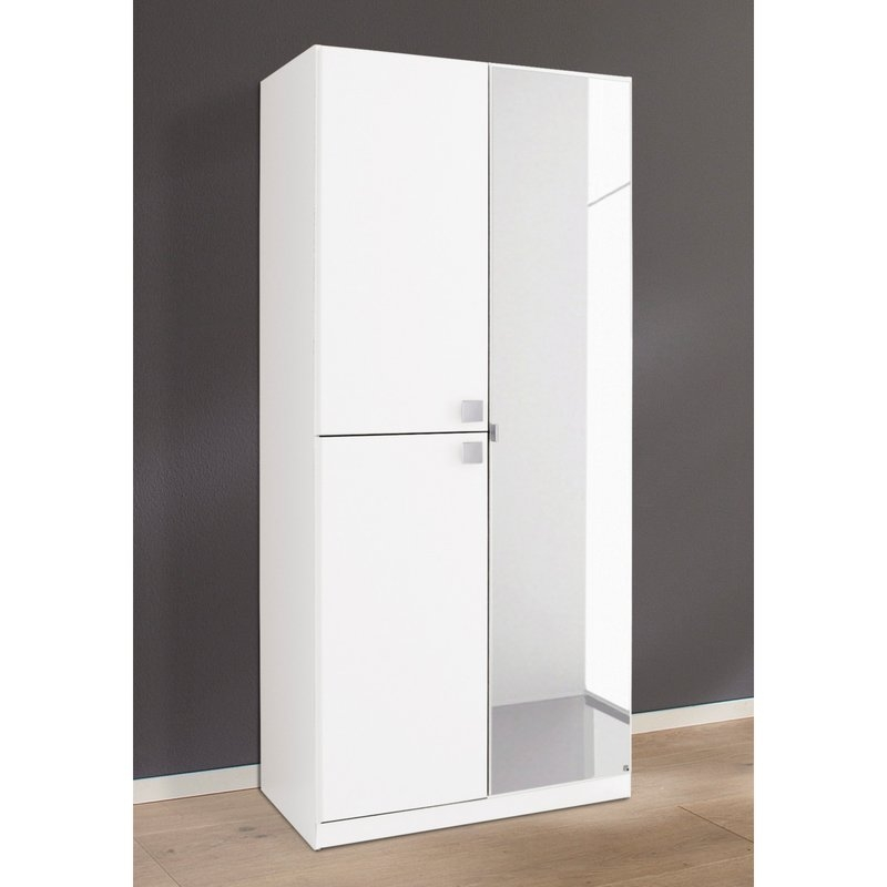 Rauch Caria 1+2 Door 1 Mirror Wardrobe in Alpine White - W 91cm