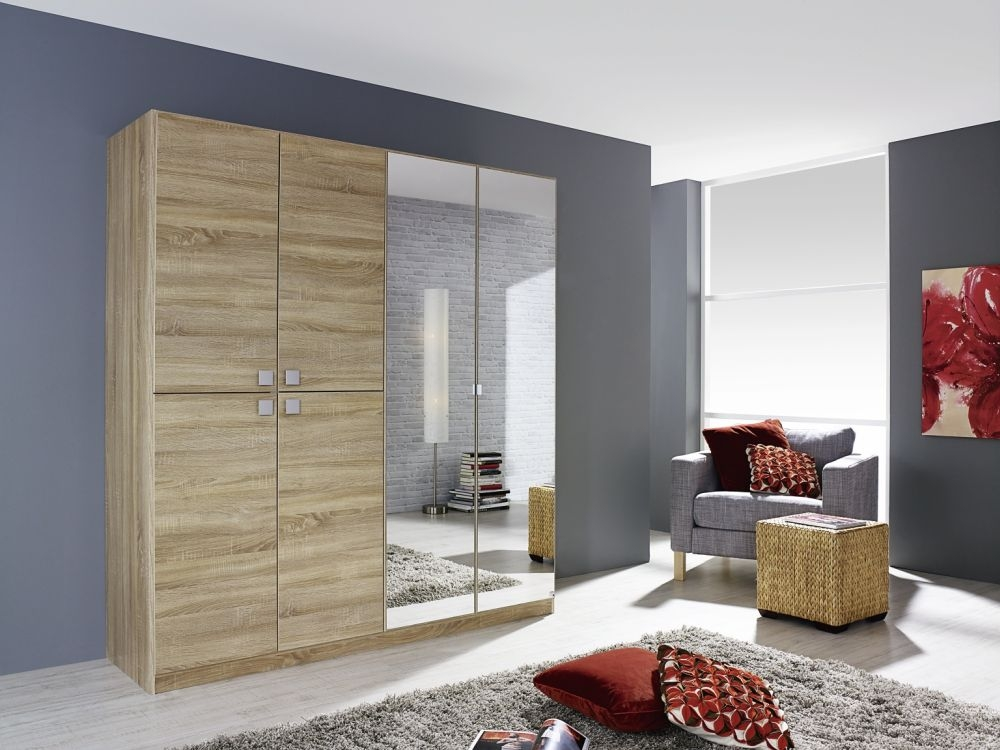 Rauch Caria Sonoma Oak 2+4 Door Wardrobe with 2 Mirror - W 181cm