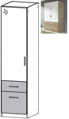 Rauch Celle Extra 1 Left Door 2 Drawer Combi Wardrobe in Sonoma Oak and High Gloss White - W 47cm