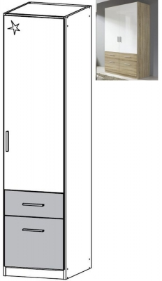 Rauch Celle Extra 1 Right Door 2 Drawer Combi Wardrobe in Sonoma Oak and High Gloss White - W 47cm