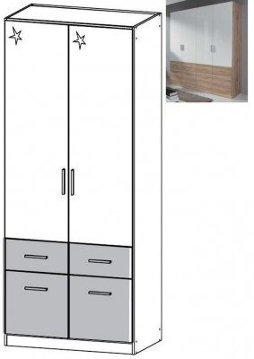 Rauch Celle Extra 2 Door 4 Drawer Wardrobe in Sanremo Oak Light and High Gloss White - W 91cm