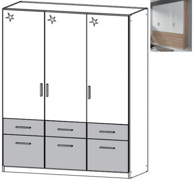Rauch Celle Extra 3 Door 6 Drawer Combi Wardrobe in Sanremo Oak Light and High Gloss White - W 136cm