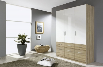 Rauch Celle Extra 3 Door 6 Drawer Combi Wardrobe in Sonoma Oak and High Gloss White - W 136cm