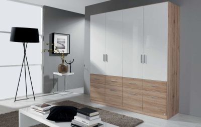 Rauch Celle Extra 4 Door 8 Drawer Combi Wardrobe in Sanremo Oak Light and High Gloss White - W 181cm