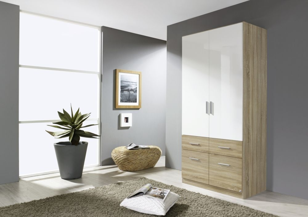 Rauch Celle Extra 2 Door 4 Drawer Wardrobe in Sonoma Oak and High Gloss White - W 91cm
