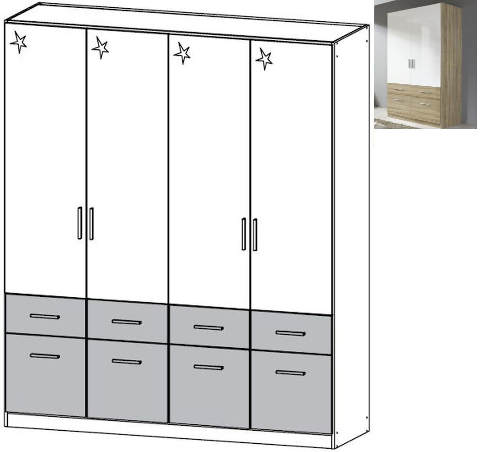 Rauch Celle Extra 4 Door 8 Drawer Combi Wardrobe in Sonoma Oak and High Gloss White - W 181cm