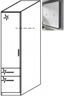 Rauch Celle 1 Left Door 2 Drawer Combi Wardrobe in Metallic Grey and High Gloss White - W 47cm