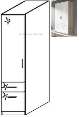 Rauch Celle 1 Left Door 2 Drawer Combi Wardrobe in Sanremo Oak Light and High Gloss White - W 47cm