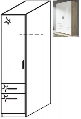 Rauch Celle 1 Left Door 2 Drawer Combi Wardrobe in Sonoma Oak and High Gloss White - W 47cm