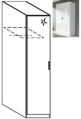 Rauch Celle 1 Left Door Wardrobe in Alpine White and High Gloss White - W 47cm