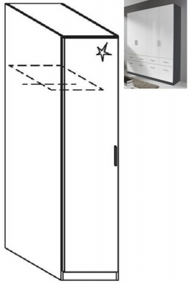 Rauch Celle 1 Left Door Wardrobe in Metallic Grey and High Gloss White - W 47cm