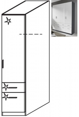 Rauch Celle 1 Right Door 2 Drawer Combi Wardrobe in Metallic Grey and High Gloss White - W 47cm