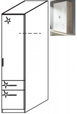 Rauch Celle 1 Right Door 2 Drawer Combi Wardrobe in Sanremo Oak Light and High Gloss White - W 47cm