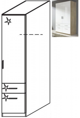 Rauch Celle 1 Right Door 2 Drawer Combi Wardrobe in Sonoma Oak and High Gloss White - W 47cm