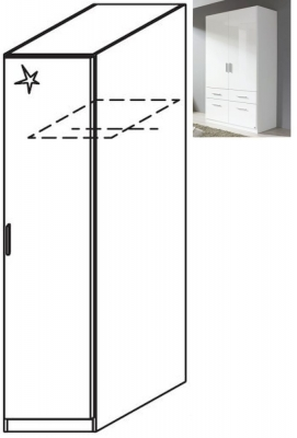 Rauch Celle 1 Right Door Wardrobe in Alpine White and High Gloss White - W 47cm