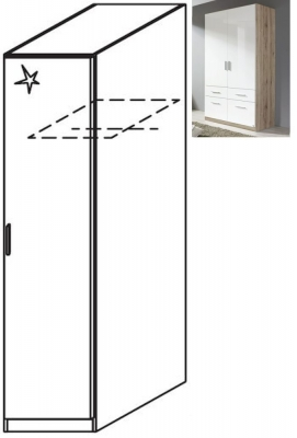 Rauch Celle 1 Right Door Wardrobe in Sanremo Oak Light and High Gloss White - W 47cm