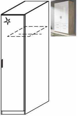 Rauch Celle 1 Right Door Wardrobe in Sonoma Oak and High Gloss White - W 47cm