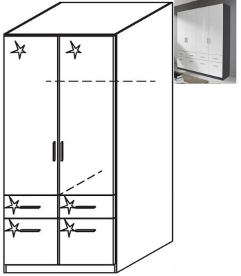 Rauch Celle 2 Door 4 Drawer Combi Wardrobe in Metallic Grey and High Gloss White - W 91cm