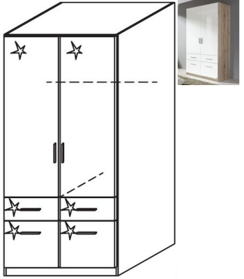 Rauch Celle 2 Door 4 Drawer Combi Wardrobe in Sanremo Oak Light and High Gloss White - W 91cm