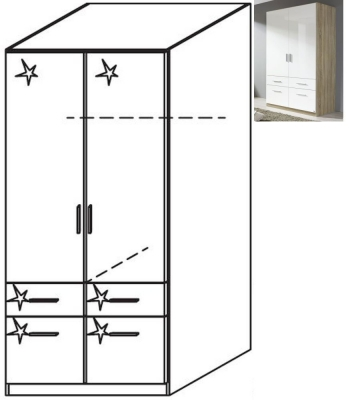 Rauch Celle 2 Door 4 Drawer Combi Wardrobe in Sonoma Oak and High Gloss White - W 91cm