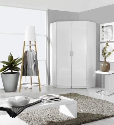 Rauch Celle 2 Door Corner Wardrobe In Alpine White and High Gloss White - W 117cm